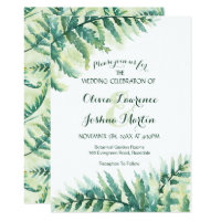 Fern Greenery Watercolor Wedding Invitation