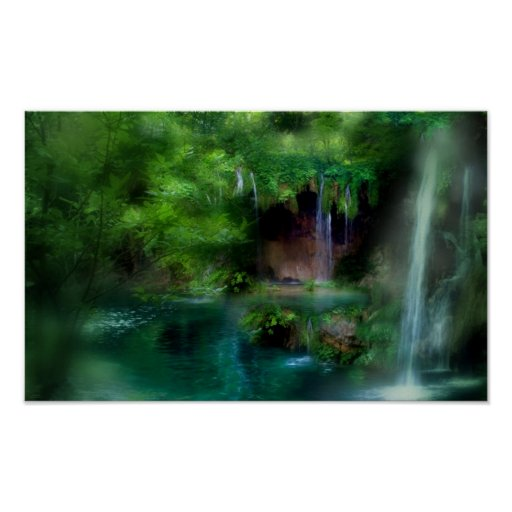 Fern grotto art mural poster zazzle for Poster mural 4 murs