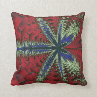 Fern in Red and Blue Throw Pillow