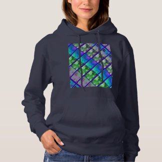 Fern Leaf Artistic Photo Strips Hoodie (Navy)