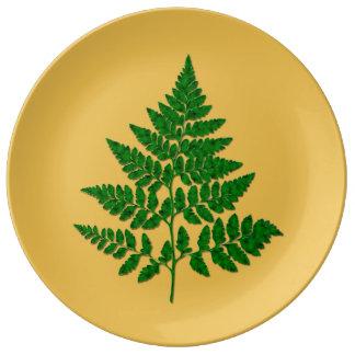 Fern leaf porcelain plates