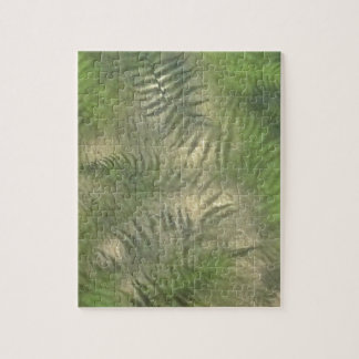 Fern Leaf Nature Outdoors Pattern Green Jigsaw Puzzle
