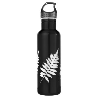 Fern Leaf Silhouette Black and White Stainless Steel Water Bottle