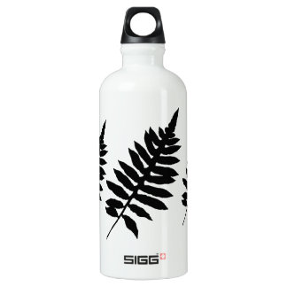 Fern Leaf Silhouette Black and White Water Bottle