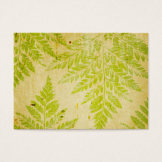Fern Leaf Stamped Pattern Grungy Background Business Card