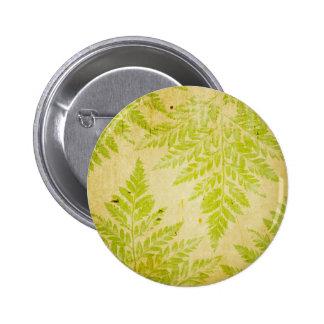 Fern Leaf Stamped Pattern Grungy Background 2 Inch Round Button