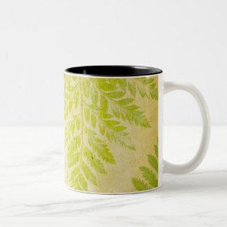 Fern Leaf Stamped Pattern Grungy Background Two-Tone Coffee Mug