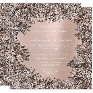 Fern Leafs Framed Crystals  Ivory Pink Rose Powder Card