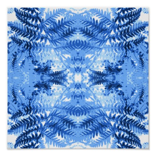 Fern Leaves, Design in Blue and White. Print