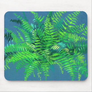 Fern leaves, floral design, greenery, blue & green mouse pad