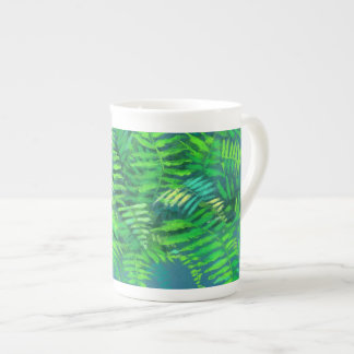 Fern leaves, floral design, greenery, blue & green tea cup