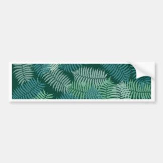 Fern leaves pattern on dark green bumper sticker