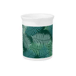 Fern leaves pattern on dark green drink pitchers
