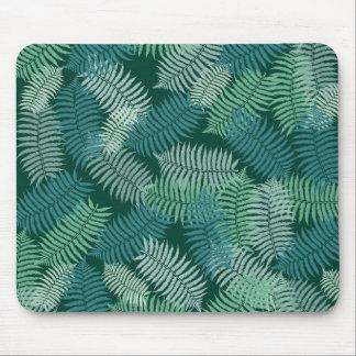 Fern leaves pattern on dark green mouse pad