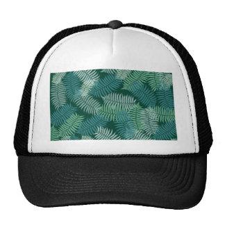 Fern leaves pattern on dark green trucker hat
