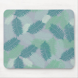 fern leaves pattern on light grey mouse pad