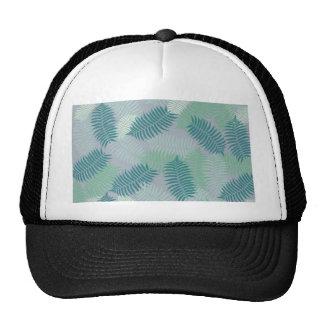 fern leaves pattern on light grey trucker hat