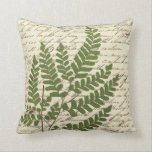 "Fern on Script Pillow 1<br><div class=""desc"">This pillow features a beautiful botanical illustration of a fern artfully placed on a background of old fashioned script from a vintage poem book. Look for coordinating pillow &quot;Fern on Script Pillow 2&quot; in our RoseHip Home store. This pillow would also make a great gift idea for birthday, anniversary, housewarming,...</div>"