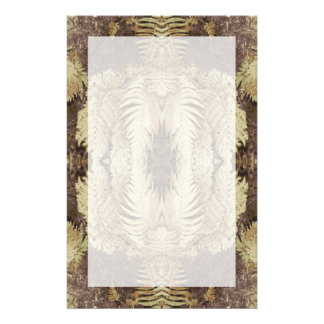 Fern Pattern Graphic. Khaki and brown. Customized Stationery