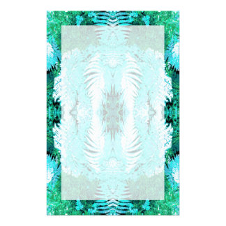 Fern Pattern in Turquoise and Green. Stationery Paper