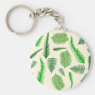 Fern Plant Frond Leaves Pattern Keychains
