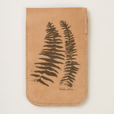 Fern Print leather phone pouch
