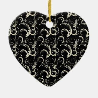 Fern Tendrils in Cream on Black Christmas Ornament