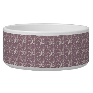 Fern Tendrils in Cream on Dusty Lavender Bowl