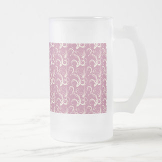 Fern Tendrils in Cream on Dusty Rose Frosted Glass Beer Mug