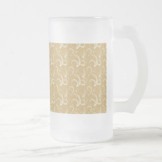 Fern Tendrils in Cream on Gold Frosted Glass Beer Mug