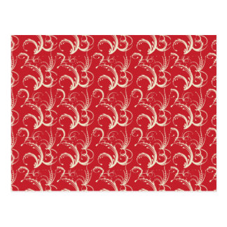 Fern Tendrils in Cream on Red Postcard