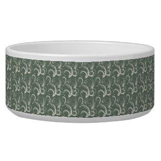 Fern Tendrils in Cream on Sage Green Bowl