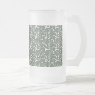 Fern Tendrils in Cream on Sage Green Frosted Glass Beer Mug