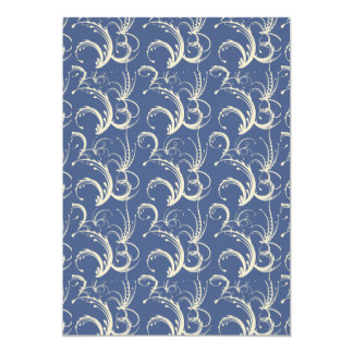 Fern Tendrils in Cream on Slate Blue Card
