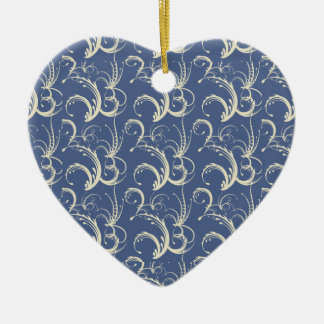 Fern Tendrils in Cream on Slate Blue Christmas Tree Ornament