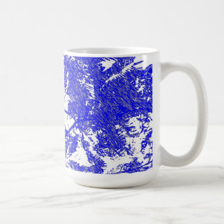Fern tree abstract Blue with White background Coffee Mug