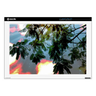 Fern Tree Leaves against a Cloudy Starry Sky Laptop Skins