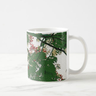 Fern tree with red flowers black branches canvas coffee mug
