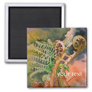 Fern Unfurling Watercolor Fine Art 2 Inch Square Magnet