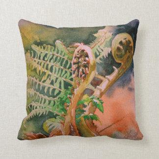 Fern Unfurling Watercolor Fine Art Pillow