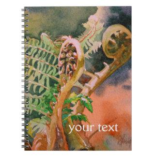 Fern Unfurling Watercolor Fine Art Spiral Notebook