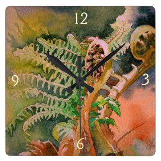 Fern Unfurling Watercolor Fine Art Square Wall Clock