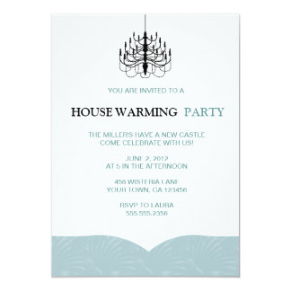 Fern Wings and Chandelier Housewarming Invitations