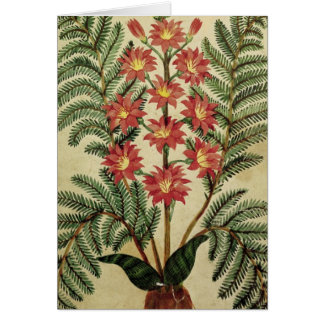 Fern with red and yellow flowers greeting card