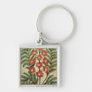Fern with red and yellow flowers keychain