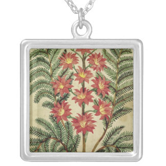 Fern with red and yellow flowers square pendant necklace