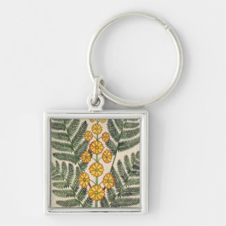 Fern with yellow flowers Silver-Colored square keychain