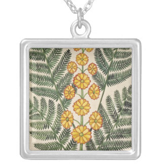 Fern with yellow flowers square pendant necklace