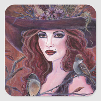 Fern woodland witch with birds by Renee Square Sticker
