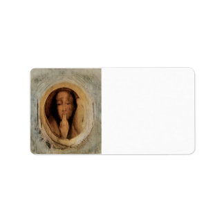 Fernand Khnopff - The silver crown Tondo Personalized Address Labels